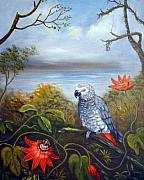 Anne Kushnick - African Grey with Flowers