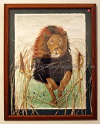 African Lion Painting Framed Prints - African King Framed Print by Joette Snyder