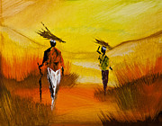 Men And Women Paintings - African Life style  by Radhika Devaraj