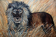 Big Cats Paintings - African Lion 2 by Nick Gustafson