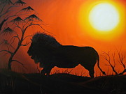 Trees At Sunset Paintings - African Lion At Sunset 6 by James Dunbar