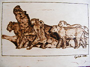 Log Cabin Art Pyrography - African lioneses pack in hunting-pyrography study by Egri George-Christian