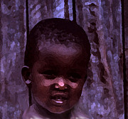 Little Girl Pyrography - African Little Girl by Lydia Holly