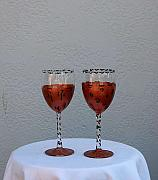 Featured Glass Art - African pattern wine glasses by Lois Niesen