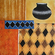 Water Vessels Paintings - African Pot by Pat Barker