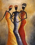 African Prints Paintings - African queens by Evon Du Toit