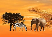 Elephants Digital Art - African Safari by Sharon Lisa Clarke