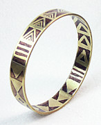 Woman Gift Jewelry - African Tribal Etched Bangle by Esprit Mystique