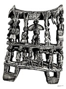 Chair Drawings Prints - African tribal seat  Print by Lee-Ann Adendorff