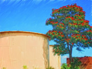 Kamuela Paintings - African Tulip and Fuel Tanks by Dominic Piperata