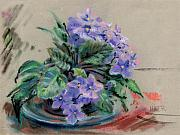 Violets Drawings - African Violet by Donald Maier