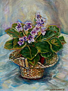 """indoor"" Still Life  Painting Framed Prints - African Violets Framed Print by Carole Spandau"