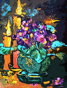 Candlelight Mixed Media - African Violets in Candlelight Still Life by Ginette Callaway