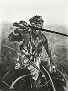 National Drawings Posters - African Warrior Poster by Kathleen Fitzpatrick