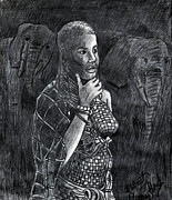 Elephants Drawings - African Woman by Bob Crawford