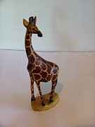 Wild Animal Sculptures - African Wooden Sculpture of a Giraffe by Colleen Daniel