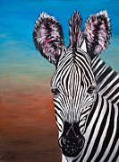 Portraits Paintings - African Zebra Aura  Redux by Donna Proctor
