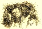 Pen And Ink Portraits Posters - Africas Untapped Natural Resources  B and T Poster by Julie Ann Caldwell