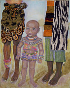 Bracelets Painting Framed Prints - Afrik Girl Framed Print by Brenda Dulan Moore