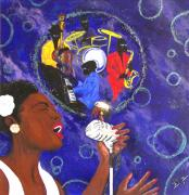 Billie Painting Originals - Afro Blue by Melvin  Robinson