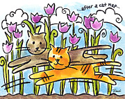 Felines Painting Prints - After A Cat Nap Print by Renee Womack