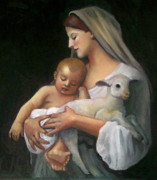 Lamb Pastels Prints - After Bouguereau Print by Joyce Geleynse