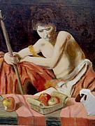 Baptist Painting Originals - after Carravaggios John in the widerness with apples and lamb by Edward Merrell
