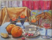 Gordana Dokic Segedin Drawings Pastels - After Christmas morning by Gordana Dokic Segedin