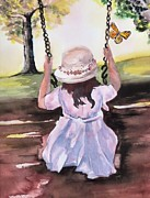 Child Swinging Paintings - After Church by Myrna Migala