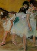 Portraiture Pastels Posters - After Degas          Before The Exam Poster by Jennifer  Blenkinsopp