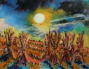 Jmw Pastels Posters - After Harvest Night Poster by John  Williams