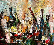 Wine Glasses Paintings - After party_1 by Natalia Veneva