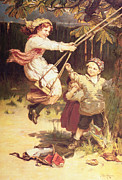 Child Swinging Painting Prints - After School Print by Frederick Morgan