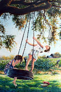 Swing Art Paintings - After School by Hanne Lore Koehler