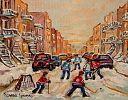Hockey In Montreal Paintings - After School Hockey Game by Carole Spandau