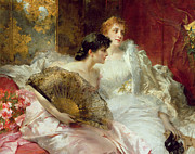 Pink Dress Posters - After the Ball Poster by Conrad Kiesel