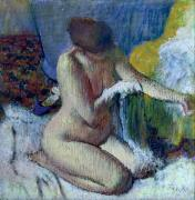 Kneeling Posters - After the Bath Poster by Edgar Degas