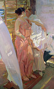 Pink Dress Framed Prints - After the Bath Framed Print by Joaquin Sorolla y Bastida