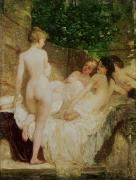 Nude Females Paintings - After the Bath by Karoly Lotz