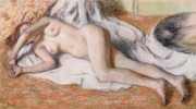Bathing Pastels Prints - After the Bath or Reclining Nude Print by Edgar Degas 