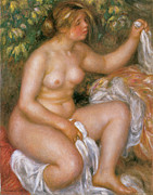 Woman Bathing Paintings - After the bath by Pierre-Auguste Renoir