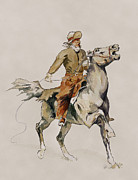 Remington Painting Prints - After The Cowboy by Frederic Remington Print by Kate Black