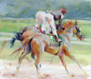 Jockey Painting Originals - After the Finish by Kimberly Santini