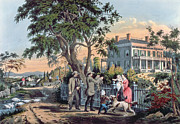 Architecture Paintings - After the Hunt by Currier and Ives