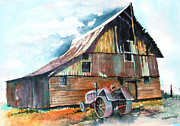 Old Tractors Paintings - After the Rain by Ed  Klein