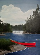Canoes Paintings - After the Rapids by Kenneth M  Kirsch