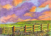 Split Rail Fence Drawings Prints - After The Storm Print by Carol Wisniewski