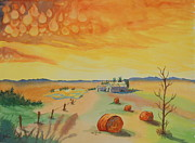 Hay Bales Paintings - After the Storm by Diane Toro