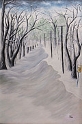 Snow Drifts Painting Posters - After the Storm Poster by Linda Krider Aliotti