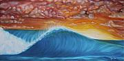 Surfing Art Paintings - After The Storm by Moira Gil